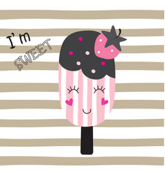 cute with funny ice cream vector image vector image