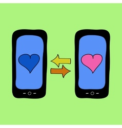 Doodle style phones with love talk vector