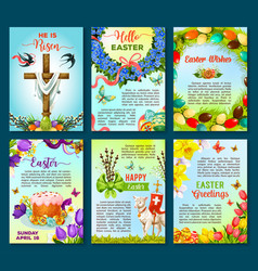 Easter poster template of egg flower cake cross vector