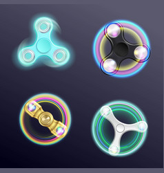 Finger spinner fidget realistic set vector