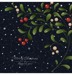 Green sprig with red berries on dark background vector