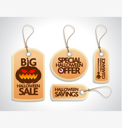 Halloween sale tags set orange vector