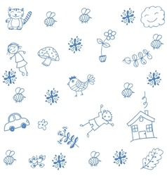Hand draw childs doodle art vector