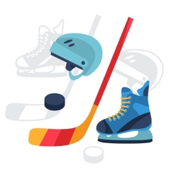 Hockey equipment icons set in flat design style vector image