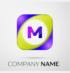 letter m logo symbol in the colorful square on vector image vector image