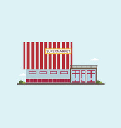 Low-rise supermarket building front view colorful vector