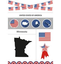 map of minnesota set of flat design icons vector image