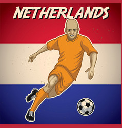Netherlands soccer player with flag background vector
