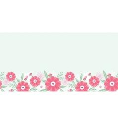 Peony flowers and leaves horizontal seamless vector image