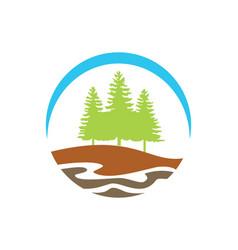 Pine tree mountain hill logo vector
