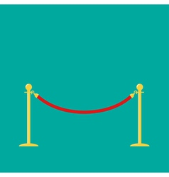 Red rope golden barrier stanchions turnstile green vector image vector image