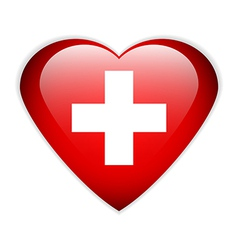 Swiss flag button vector image