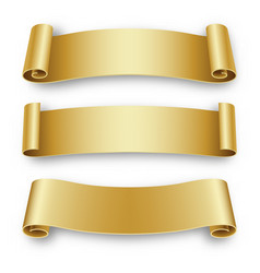 Three holiday golden ribbons for birthday vector