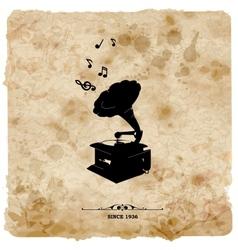 Vintage postcard Retro turntable on grunge vector image vector image