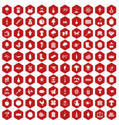 100 farming icons hexagon red vector