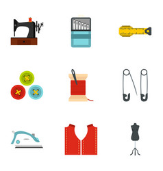 Sewing equipment icons set flat style vector