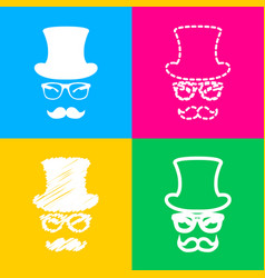 Hipster accessories design four styles of icon on vector