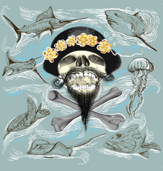 Bearded pirate skull and underwater life - hand vector