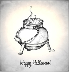 Boiler with potion in a sketch style vector image