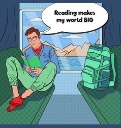 Pop art man traveling by train and reading book vector