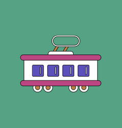 flat icon design collection tram silhouette vector image