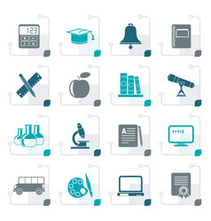 stylized education and school objects icons vector image