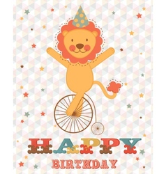 Happy birthday card with happy lion vector