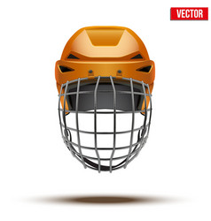 Classic orange goalkeeper ice hockey helmet vector