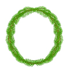 Christmas decoration wreath round frame vector