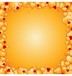 Lovely golden background of hearts vector