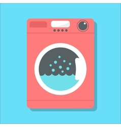 Red washing machine in flat style vector