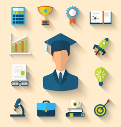 Flat icons of magister and objects for high school vector