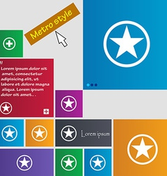 Star favorite icon sign metro style buttons modern vector