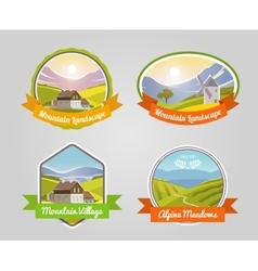 Mountain landscape label vector