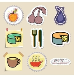 Hand drawn food and drink emblems set isolated vector