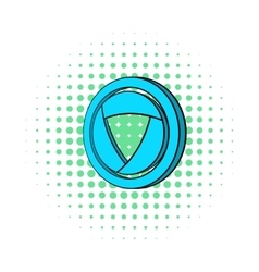 Blue camera aperture icon comics style vector