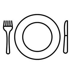 Plate knife and fork icon vector