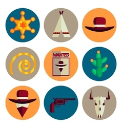 Wild west flat icons set vector