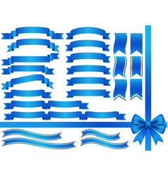 a set of assorted blue ribbons vector image vector image