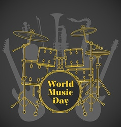 Abstract dark colored international music day vector