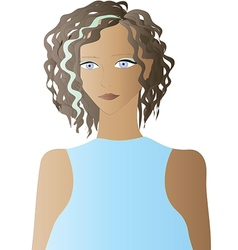 Beautiful Girls with Curly Hair - vector image