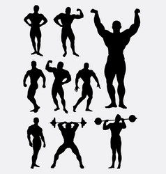 body builder and heavy lifter sport silhouette vector image vector image