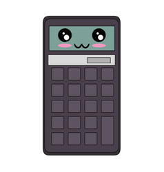 Calculator math device kawaii cartoon vector