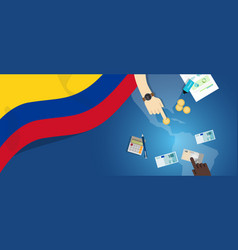 Colombia economy fiscal money trade concept vector
