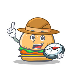 Explorer burger character fast food vector