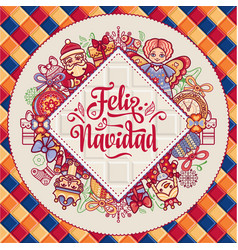 Feliz navidad xmas card on spanish language vector