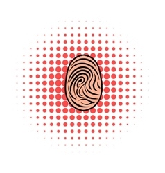 Fingerprint icon comics style vector