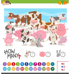 Game of counting farm animals vector