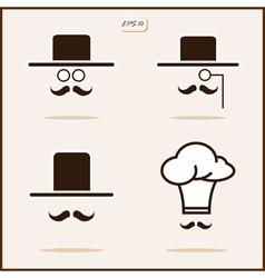 Gentleman with a mustache and hat cap vector