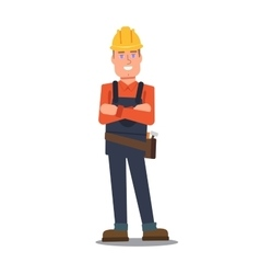 Handyman standing and smiling vector image